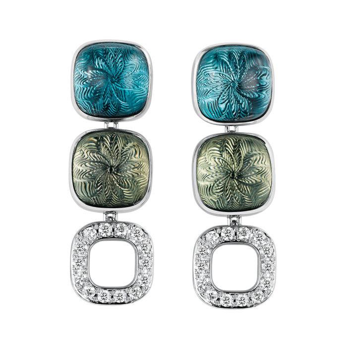 Gold Ohrringe mit blauem Edelstein, grünem Edelstein und Diamanten