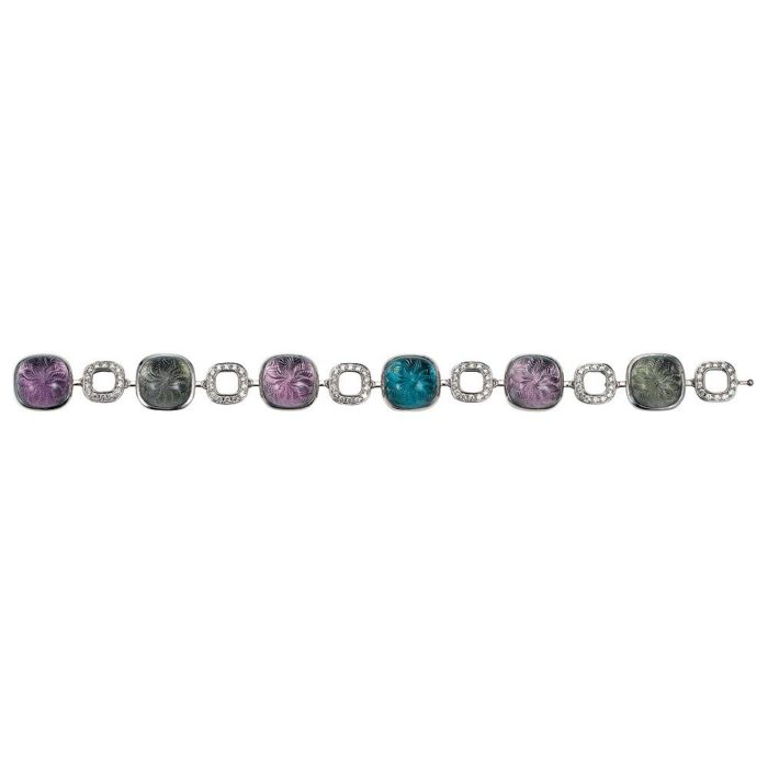 Gold bracelet with coloured gemstones and diamonds