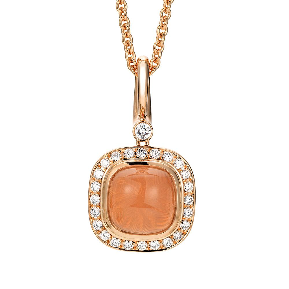 Gold Anhänger mit pfirsichfarbenem Edelstein und Diamanten
