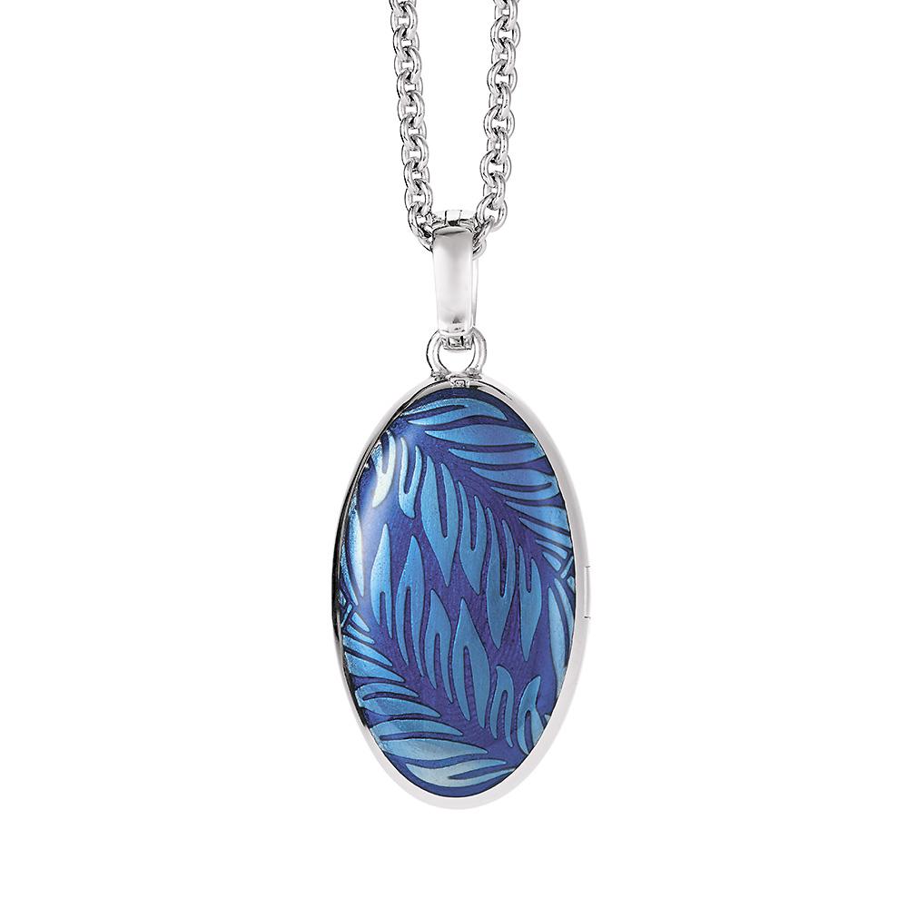 Gold-Medaillon mit blau emailliertem Guilloche mit Diamanten zum Aufklappen für das eigene Bild_Rückseite