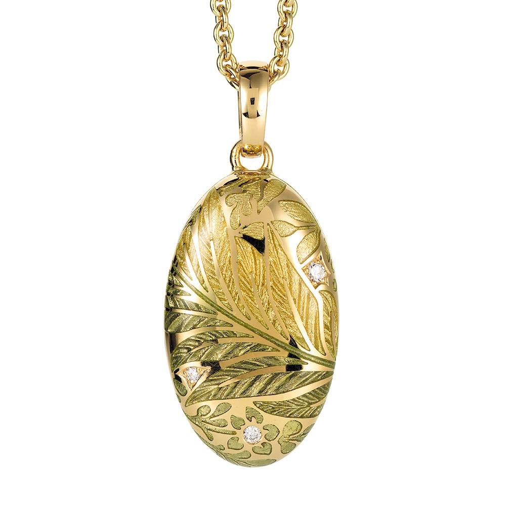 Gold locket with light green enamelled guilloche with diamonds to open for your own picture