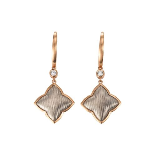 Diamond-set gold earrings with guilloche
