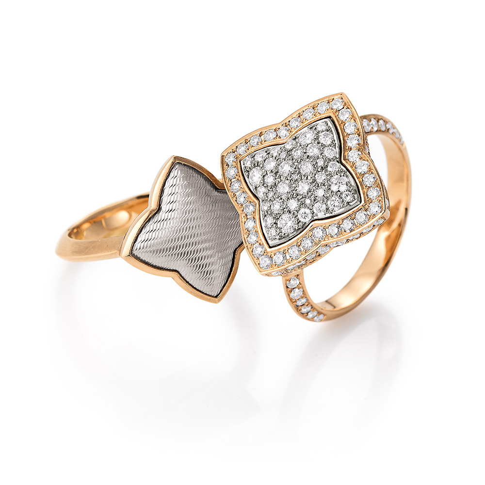 Diamond set Gold-Ring with guilloche