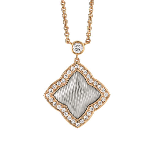 Diamond-set gold necklace with guilloche
