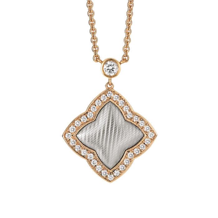 Diamant-besetztes Gold-Collier mit Guilloche