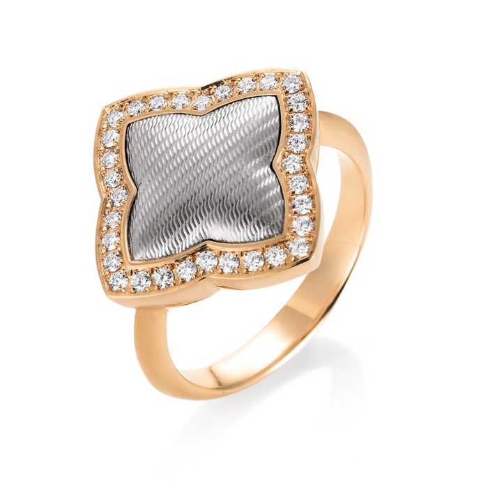 Diamond-set gold ring with guilloche
