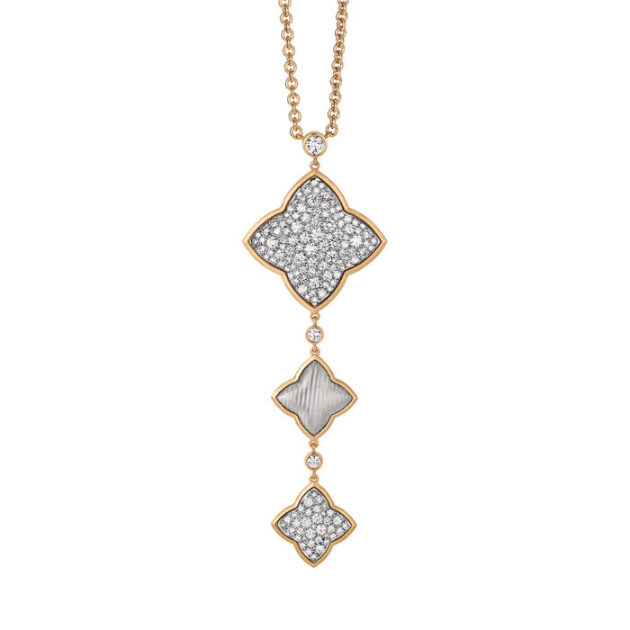 Diamond-set gold collier with guilloche