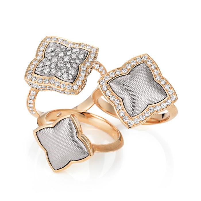 Diamant-besetzter Gold-Ring mit Guilloche