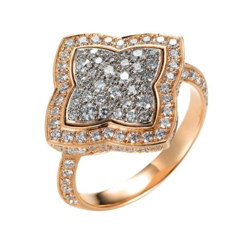 Diamond-set gold ring