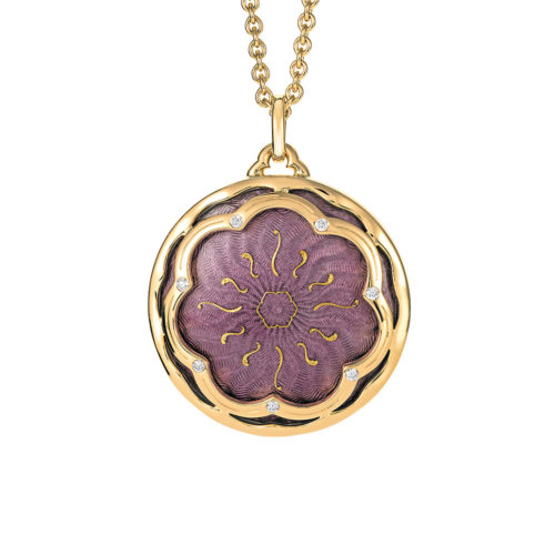 Gold pendant with purple enameled guilloche