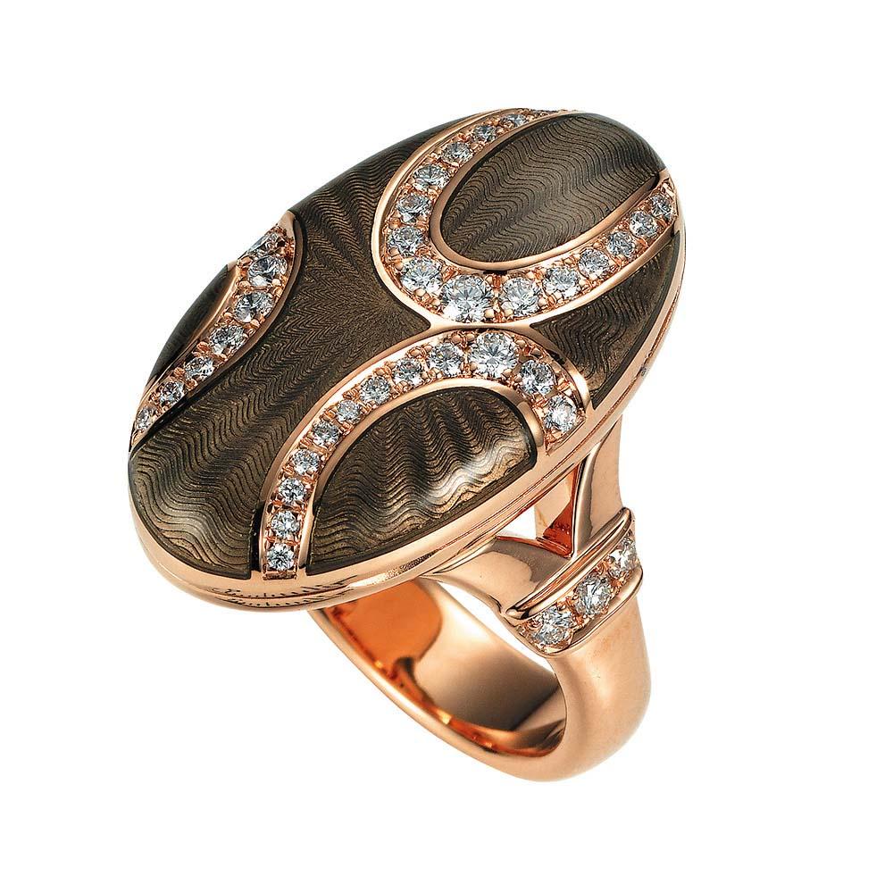 Diamant-besetzter Gold-Ring mit Medaillon und hellgrau emailliertem Guilloche zum Aufklappen für eigene Bilder