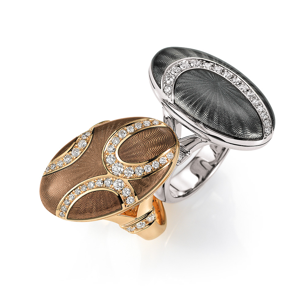 Diamond-set, white gold and rose gold rings with locket with light grey guilloche enamel
