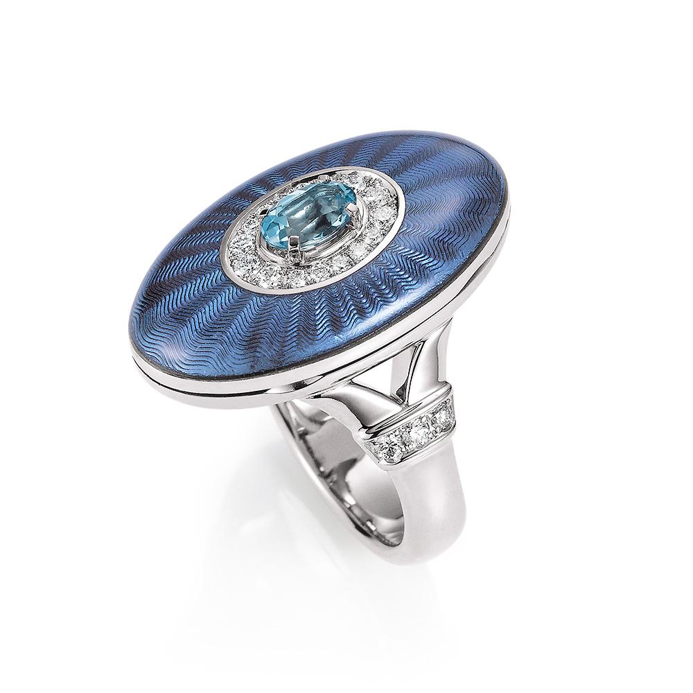 Diamond-set, white gold ring with medium blue guilloche enamel and aquamarine