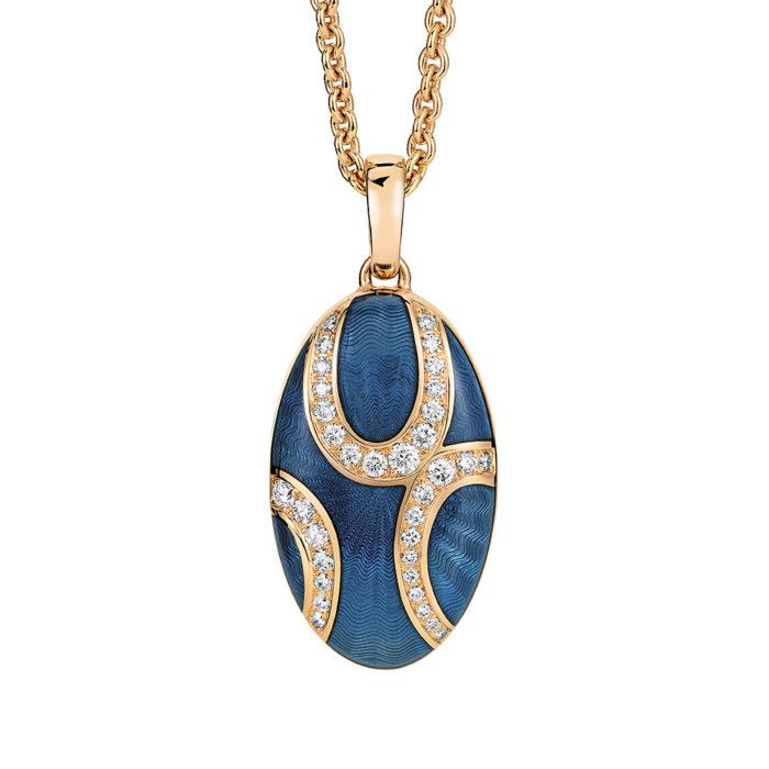 Diamant-besetztes Gold-Medaillon mit blau emailliertem Guilloche zum Aufklappen für eigene Bilder