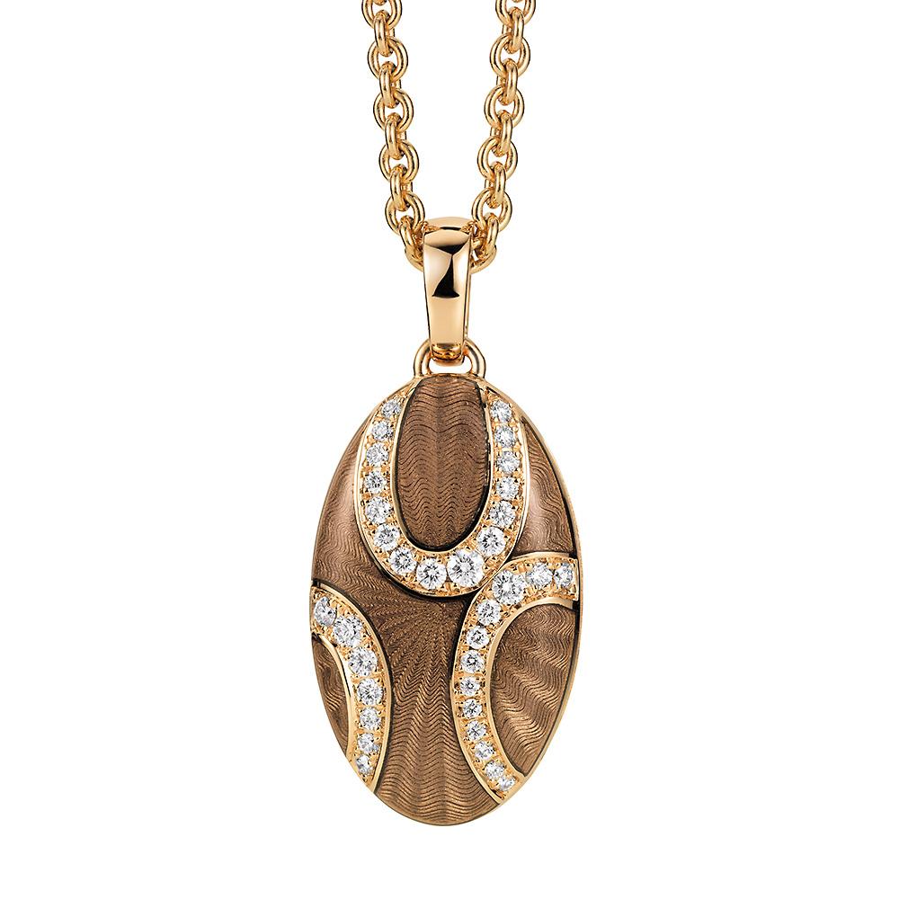 Diamond-set, rose gold locket-pendant with light grey guilloche enamel