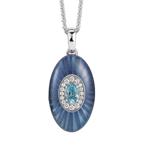 Diamant-besetztes Gold-Medaillon und blau emailliertem Guilloche zum Aufklappen für eigene Bilder