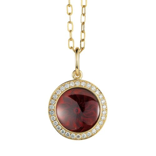 Diamond-set gold pendant with aubergine red enameled guilloche