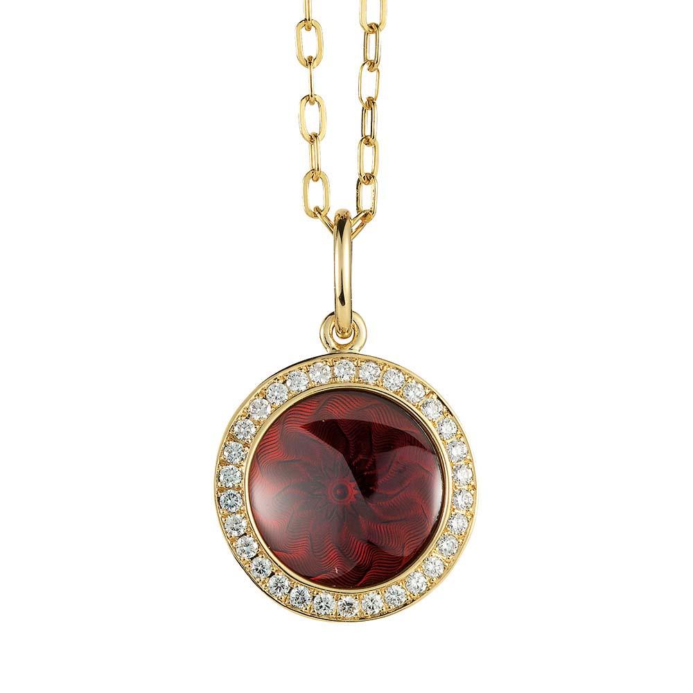 Diamant-besetzter Gold-Anhänger mit auberginerot emailliertem Guilloche
