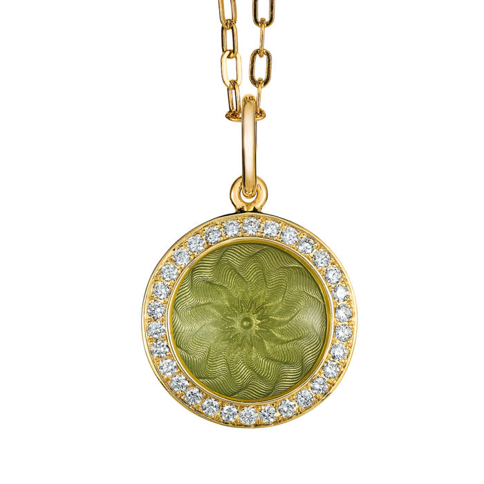 Diamond set gold pendant with light green enameled guilloche