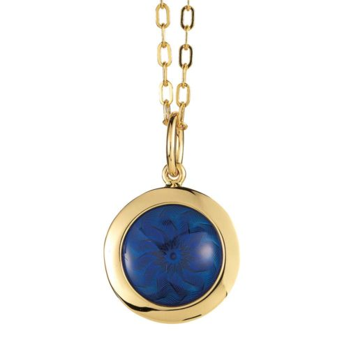Gold pendant with blue enameled guilloche