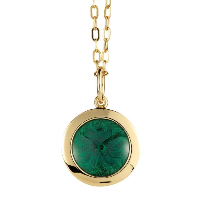 Gold pendant with emerald green enameled guilloche
