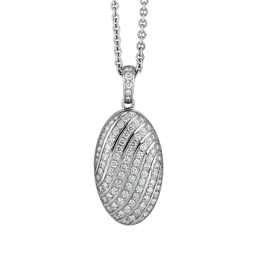 Diamant-besetztes Gold-Medaillon zum Aufklappen für eigene Bilder