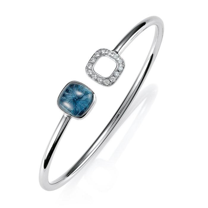 Gold Armband mit Diamanten und blauem Edelstein