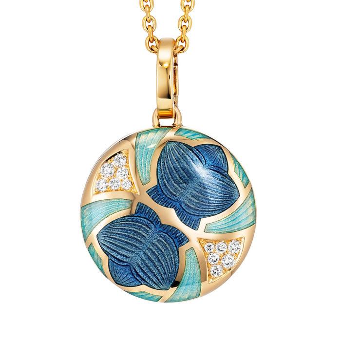 Diamant-besetztes Medaillon mit blau emailliertem Guilloche