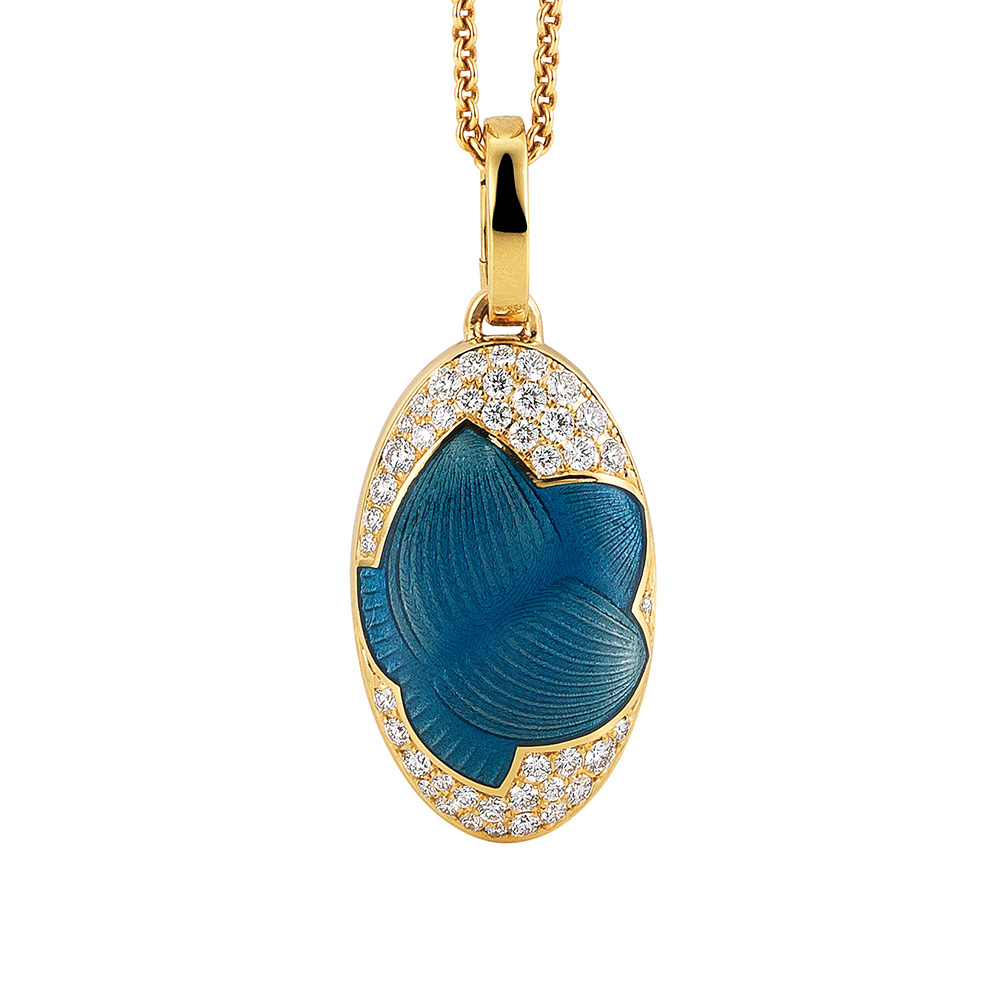 Diamond set locket with blue enameled guilloche