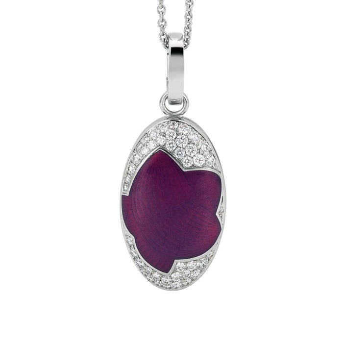 diamond-set gold locket with opal raspberry and silver enameled guilloche