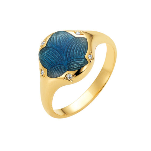 Diamond-set gold ring with blue enameled guilloche