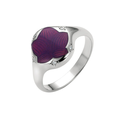 Diamond set gold ring with opalescent raspberry enameled guilloche