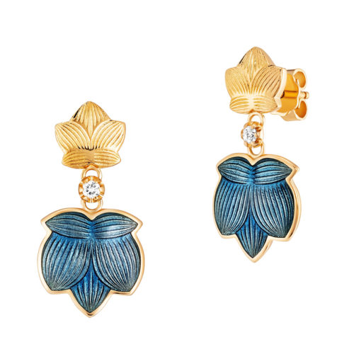 Diamond-set gold earrings with medium blue enameled guilloche