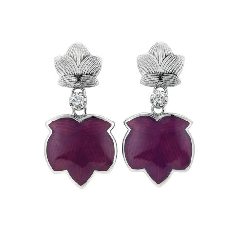 Diamond-set gold earrings with opalescent raspberry enamel guilloche
