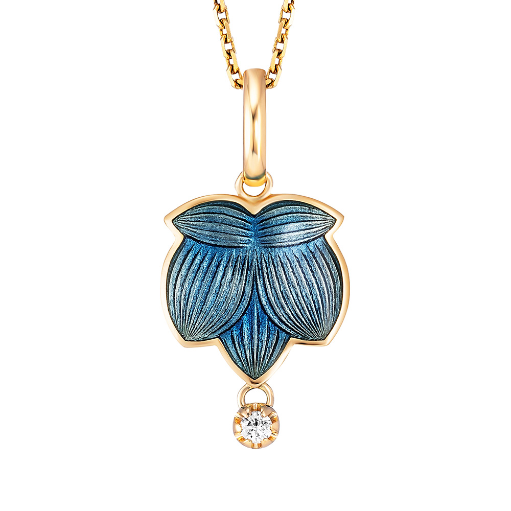 Diamond set gold pendant with medium blue enameled guilloche