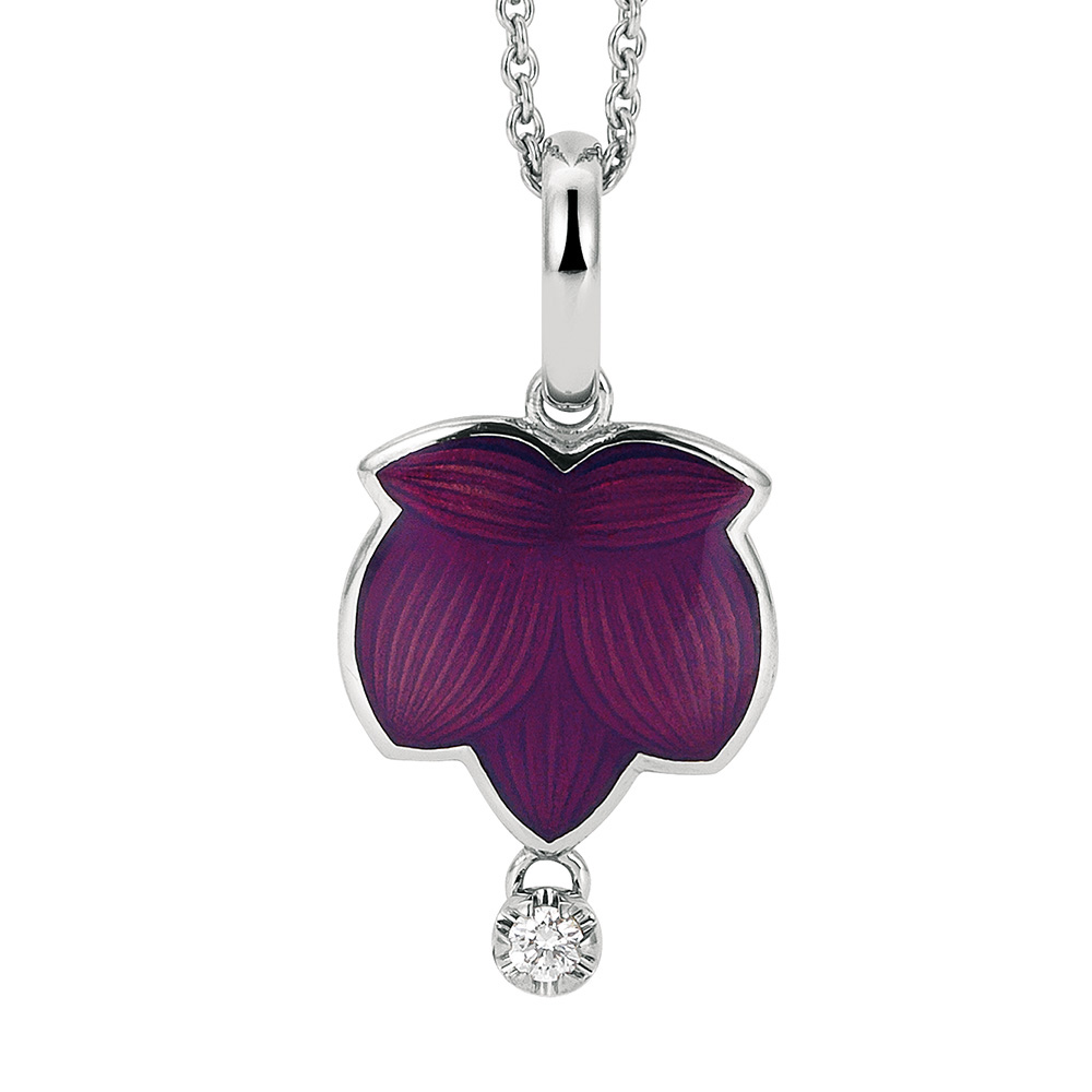 Diamond set gold pendant with opalescent raspberry enameled guilloche