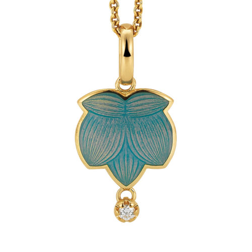 Diamond-set gold pendant with opalescent turquoise enameled guilloche