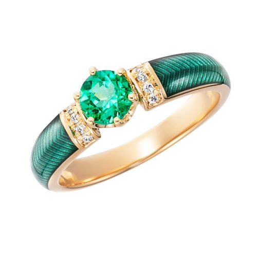 Diamond-set gold solitaire ring with green vitreous enamel and colombian emerald