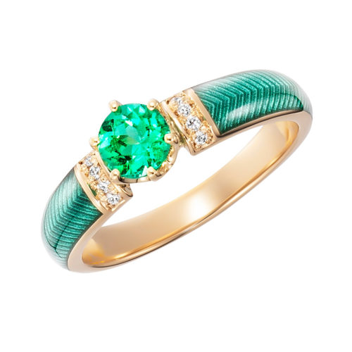 Diamond-set gold solitaire ring with green fire enamel and colombian emerald