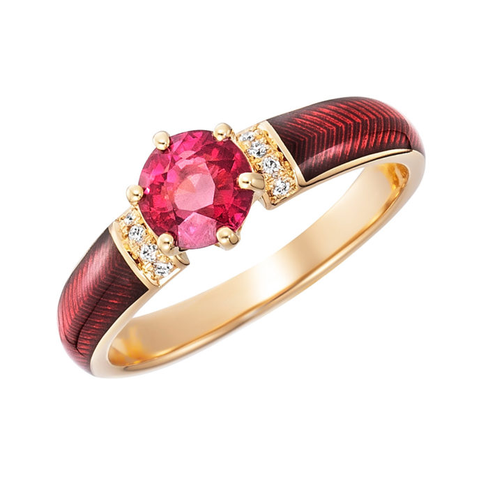 Diamond-set gold solitaire ring with red fire enamel and padparajah sapphire