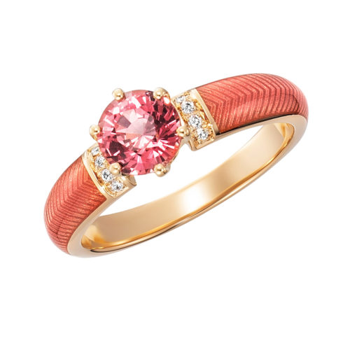 Diamond-set gold solitaire ring with red enameled guilloche and padparadscha sapphire