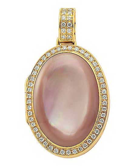 yellow gold, oval locket-pendant with diamonds