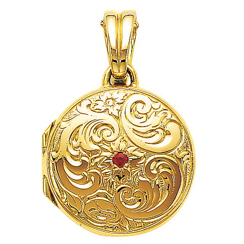 yellow gold, round, locket-pendant with Viennese engraving