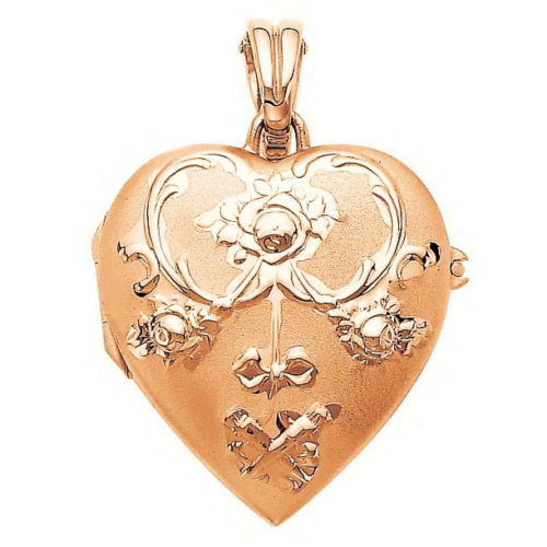 rose gold, heart-shaped locket-pendant with rococo rose engraving