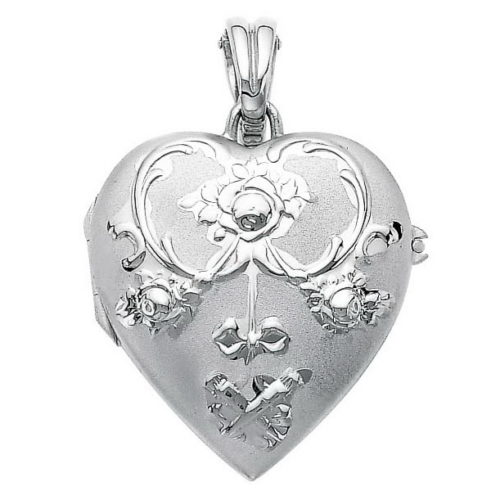 white gold, heart-shaped locket-pendant with rococo rose engraving