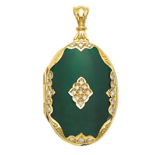 yellow gold, oval locket-pendant with dark green enamel and diamonds