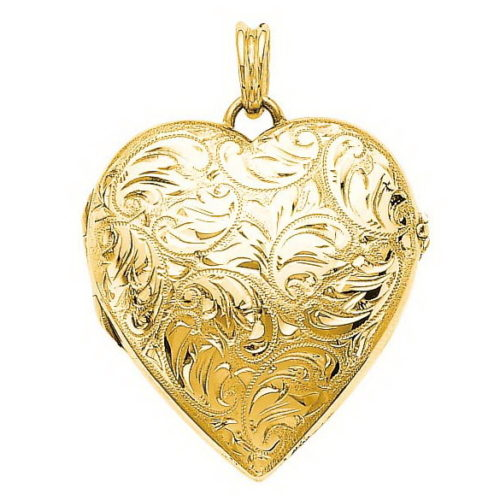 yellow gold, heart-shaped locket-pendant with viennese engraving