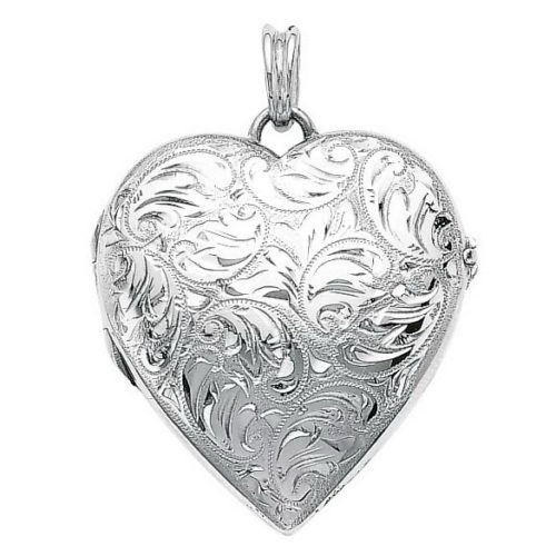 white gold, heart-shaped locket-pendant with viennese engraving