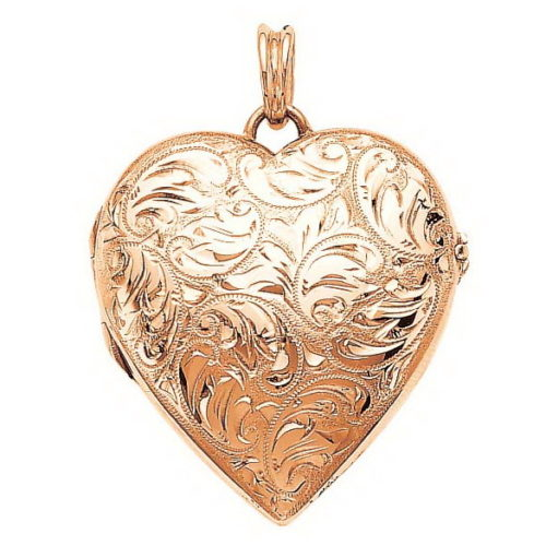 rose gold, heart-shaped locket-pendant with viennese engraving