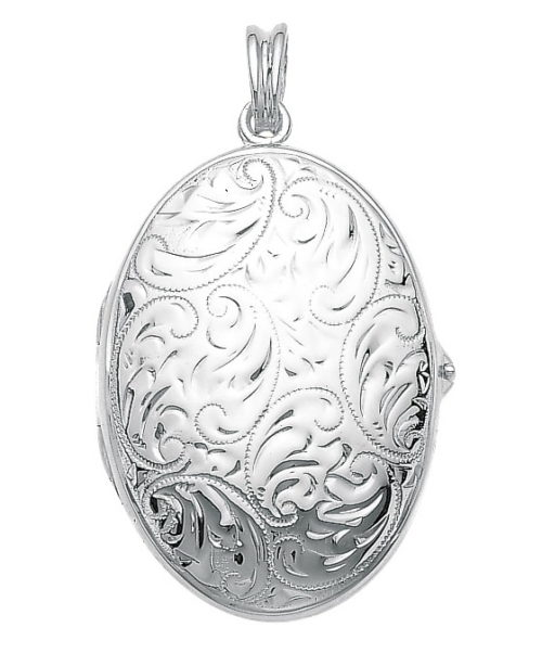 white gold, oval locket-pendant with viennese engraving